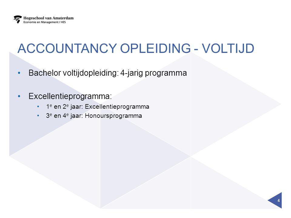 ACCOUNTANCY OPLEIDING - VOLTIJD Bachelor voltijdopleiding: 4-jarig programma Excellentieprogramma: 1 e en 2 e jaar: Excellentieprogramma 3 e en 4 e jaar: Honoursprogramma 4