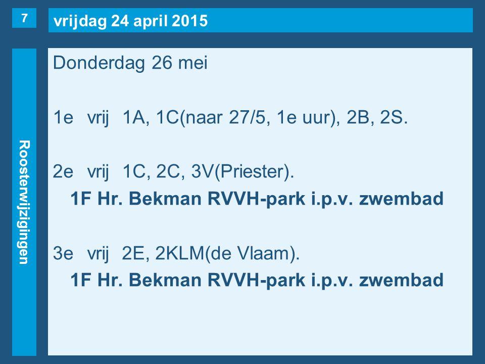 vrijdag 24 april 2015 Roosterwijzigingen Donderdag 26 mei 1evrij1A, 1C(naar 27/5, 1e uur), 2B, 2S. 2evrij1C, 2C, 3V(Priester). 1F Hr. Bekman RVVH-park