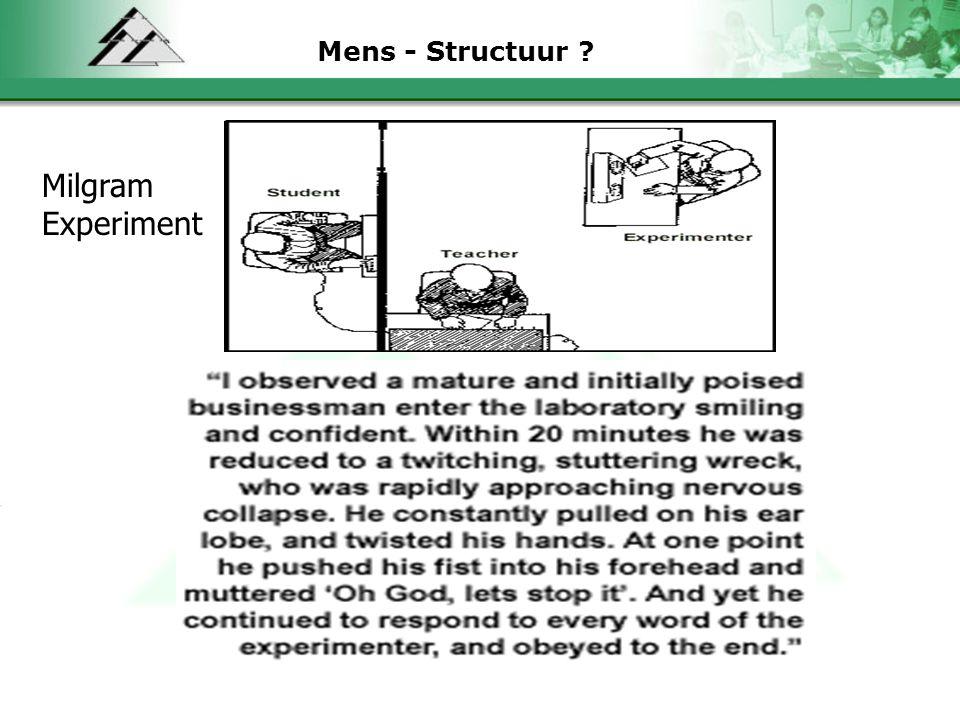 Mens - Structuur ? Milgram Experiment
