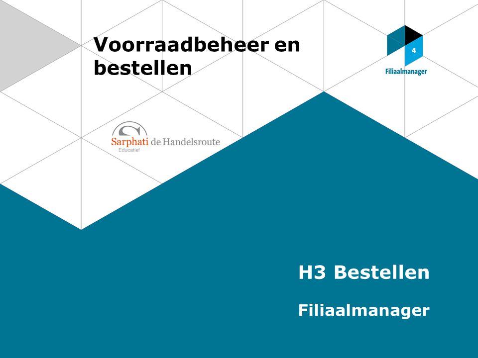 Voorraadbeheer en bestellen H3 Bestellen Filiaalmanager
