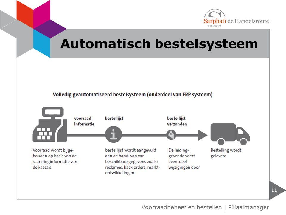 11 Voorraadbeheer en bestellen | Filiaalmanager Automatisch bestelsysteem