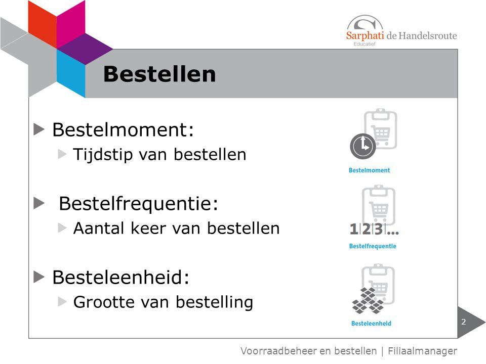 Bestelmoment: Tijdstip van bestellen Bestelfrequentie: Aantal keer van bestellen Besteleenheid: Grootte van bestelling 2 Voorraadbeheer en bestellen | Filiaalmanager Bestellen