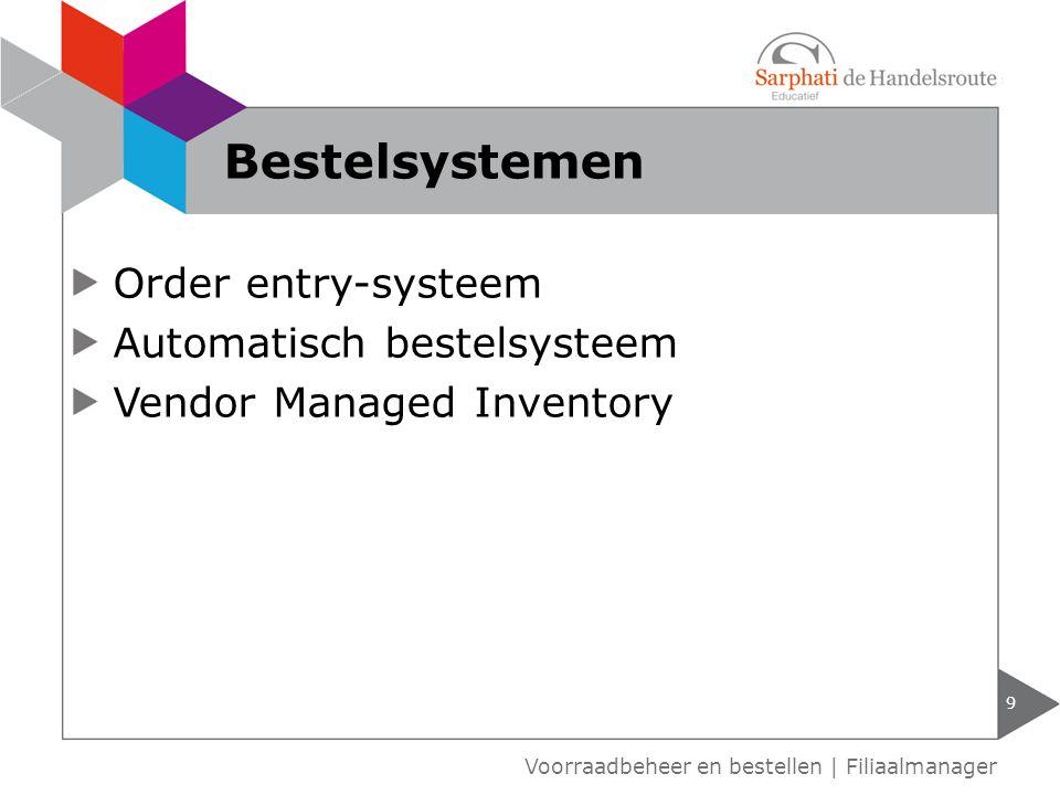 Order entry-systeem Automatisch bestelsysteem Vendor Managed Inventory 9 Voorraadbeheer en bestellen | Filiaalmanager Bestelsystemen