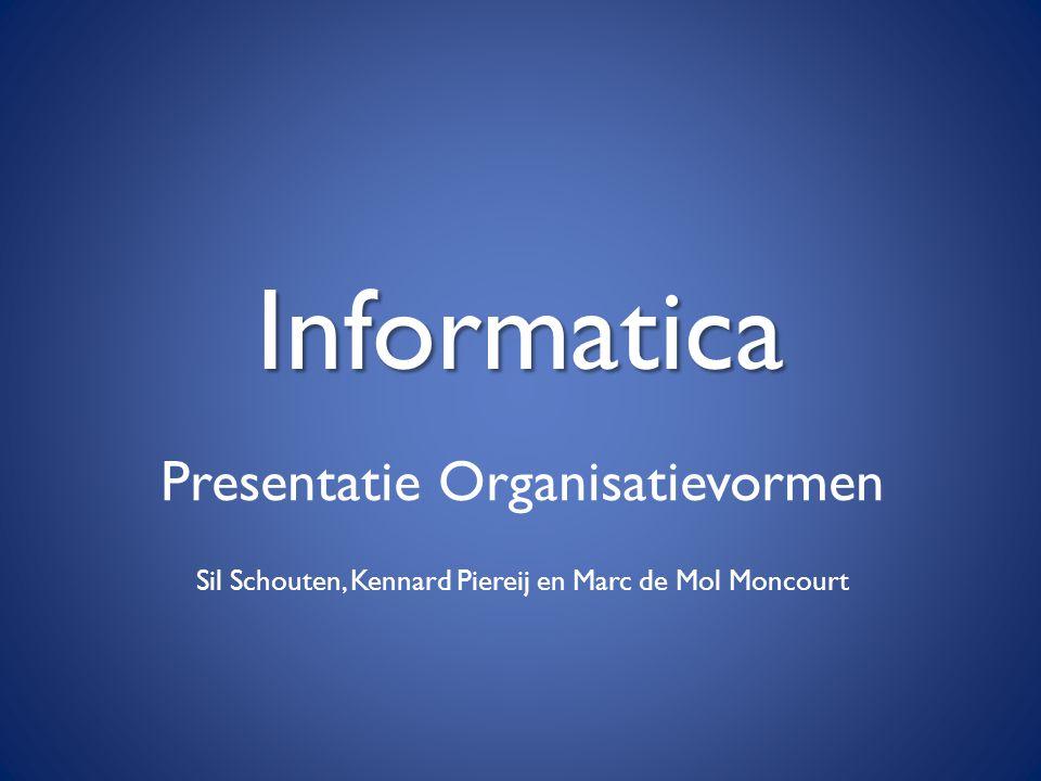 Informatica Presentatie Organisatievormen Sil Schouten, Kennard Piereij en Marc de Mol Moncourt