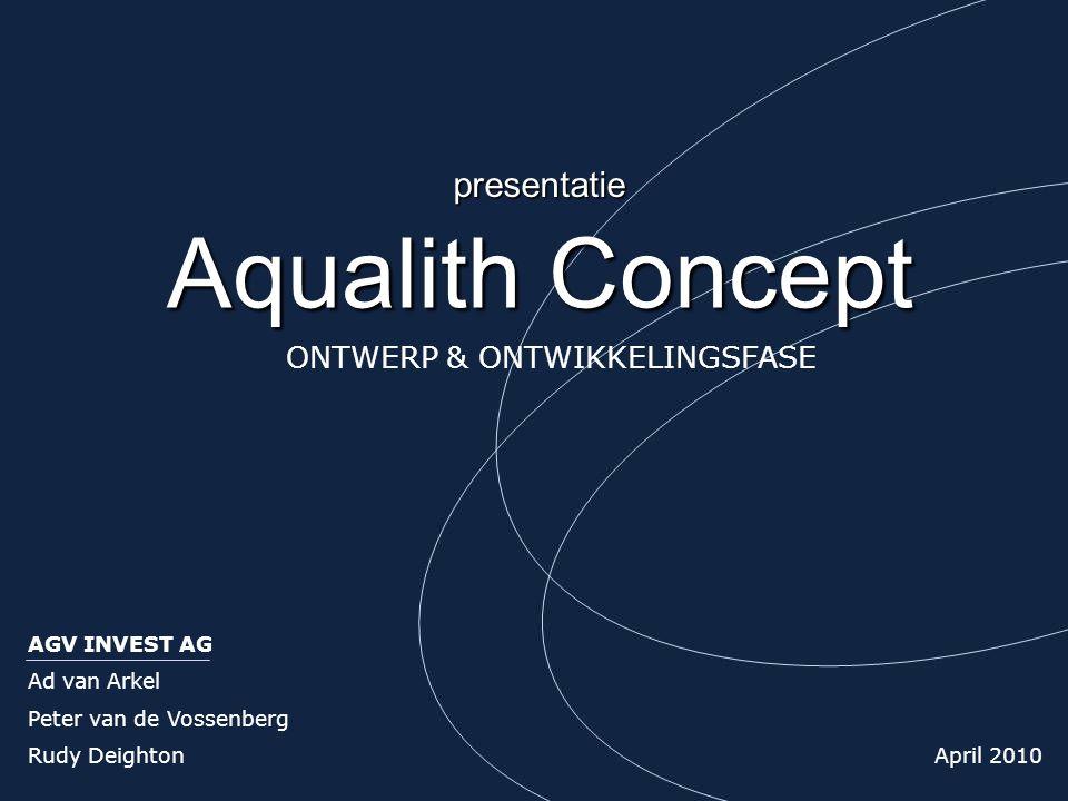 Aqualith Concept AGV INVEST AG Ad van Arkel Peter van de Vossenberg Rudy Deighton April 2010 presentatie ONTWERP & ONTWIKKELINGSFASE