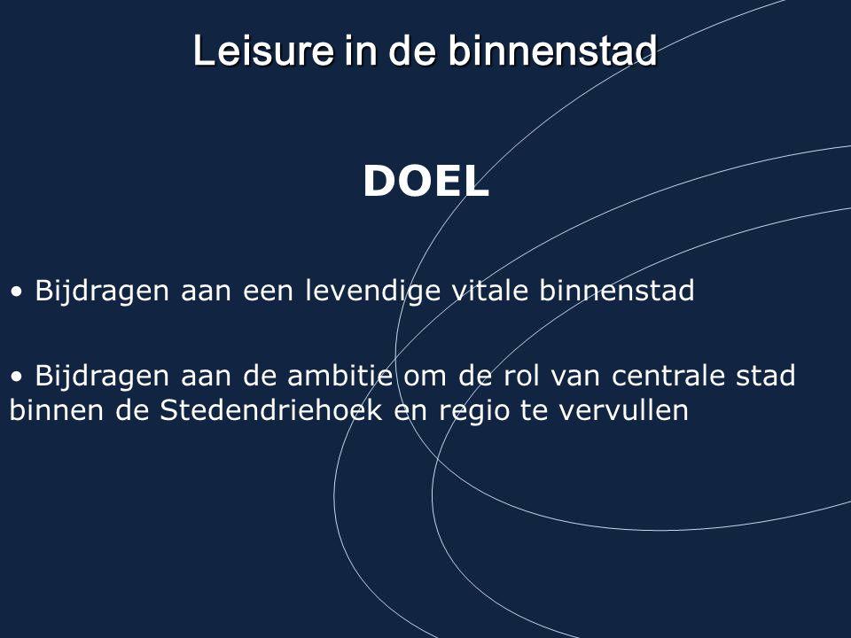 Leisure in de binnenstad DOEL Bijdragen aan een levendige vitale binnenstad Bijdragen aan de ambitie om de rol van centrale stad binnen de Stedendrieh