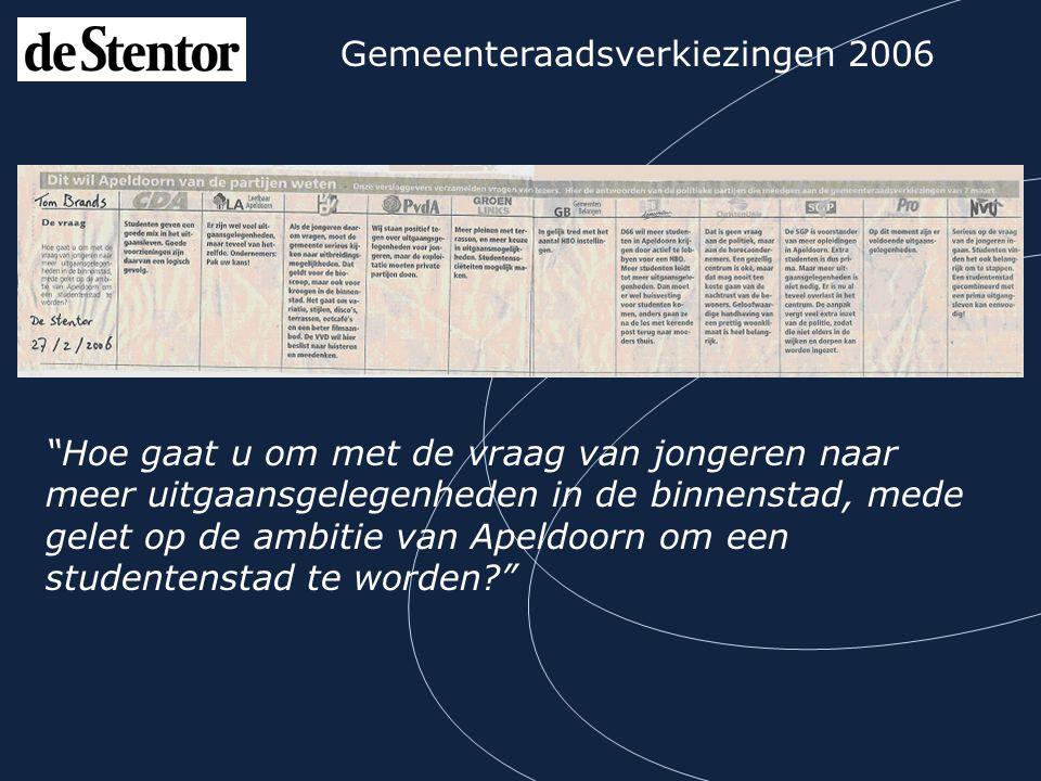 Hoe gaat u om met de vraag van jongeren naar meer uitgaansgelegenheden in de binnenstad, mede gelet op de ambitie van Apeldoorn om een studentenstad te worden? Gemeenteraadsverkiezingen 2006