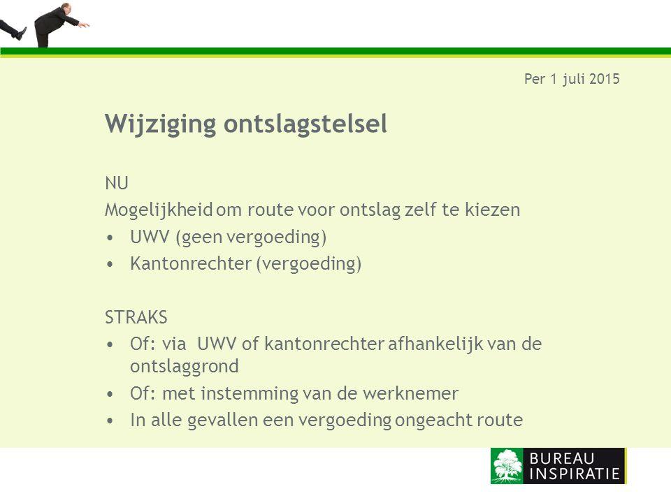 Wijziging ontslagstelsel Per 1 juli 2015 NU Mogelijkheid om route voor ontslag zelf te kiezen UWV (geen vergoeding) Kantonrechter (vergoeding) STRAKS