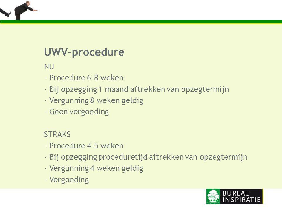 UWV-procedure NU - Procedure 6-8 weken - Bij opzegging 1 maand aftrekken van opzegtermijn - Vergunning 8 weken geldig - Geen vergoeding STRAKS - Proce