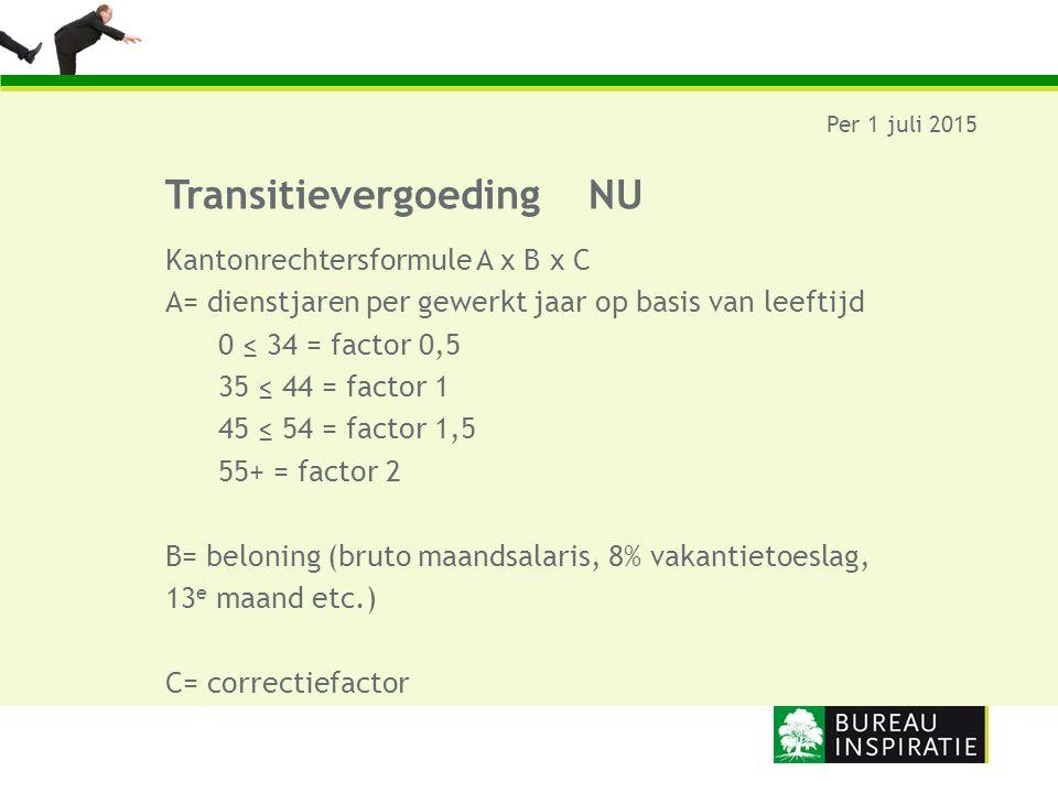 TransitievergoedingNU Per 1 juli 2015 Kantonrechtersformule A x B x C A= dienstjaren per gewerkt jaar op basis van leeftijd 0 ≤ 34 = factor 0,5 35 ≤ 4