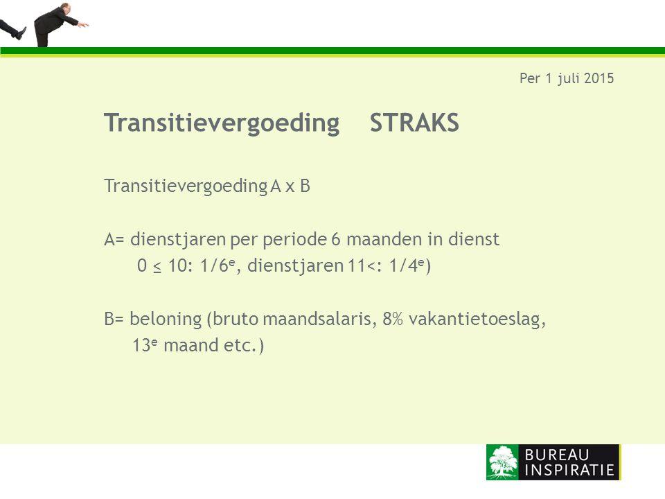 TransitievergoedingSTRAKS Per 1 juli 2015 Transitievergoeding A x B A= dienstjaren per periode 6 maanden in dienst 0 ≤ 10: 1/6 e, dienstjaren 11<: 1/4
