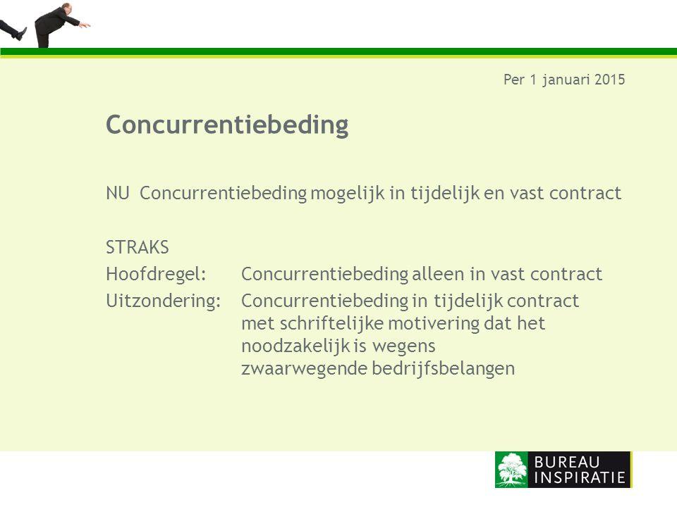 Concurrentiebeding Per 1 januari 2015 NUConcurrentiebeding mogelijk in tijdelijk en vast contract STRAKS Hoofdregel: Concurrentiebeding alleen in vast