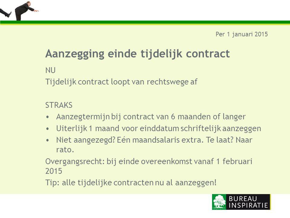 Aanzegging einde tijdelijk contract Per 1 januari 2015 NU Tijdelijk contract loopt van rechtswege af STRAKS Aanzegtermijn bij contract van 6 maanden o