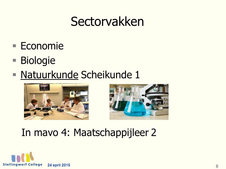 Sectorvakken  Economie  Biologie  Natuurkunde Scheikunde 1 In mavo 4: Maatschappijleer 2 24 april 2015 6
