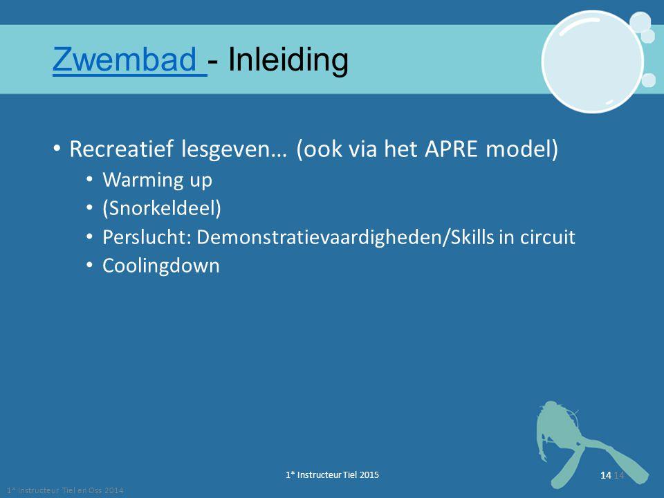 1* Instructeur Tiel 2015 14 Zwembad Zwembad - Inleiding Recreatief lesgeven… (ook via het APRE model) Warming up (Snorkeldeel) Perslucht: Demonstratie