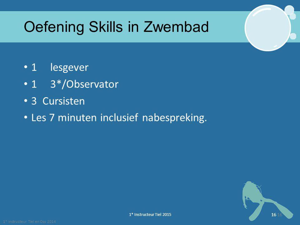 1* Instructeur Tiel 2015 16 Oefening Skills in Zwembad 1 lesgever 1 3*/Observator 3 Cursisten Les 7 minuten inclusief nabespreking. 1* Instructeur Tie