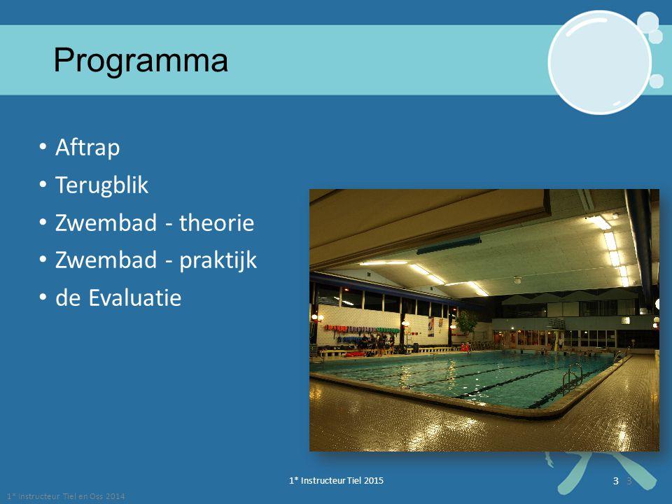 1* Instructeur Tiel 2015 3 1* Instructeur Tiel en Oss 2014 3 Programma Aftrap Terugblik Zwembad - theorie Zwembad - praktijk de Evaluatie
