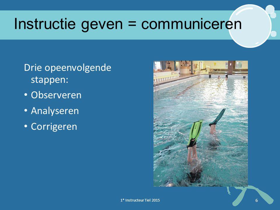 6 Instructie geven = communiceren Drie opeenvolgende stappen: Observeren Analyseren Corrigeren 1* Instructeur Tiel en Oss 20146