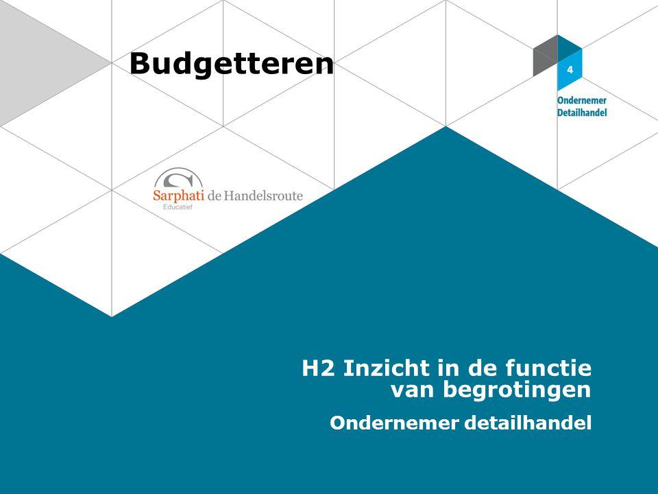 Budgetteren H2 Inzicht in de functie van begrotingen Ondernemer detailhandel