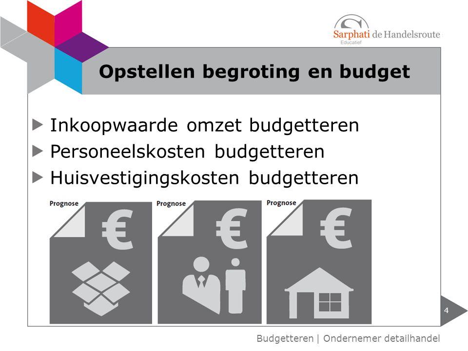 Inkoopwaarde omzet budgetteren Personeelskosten budgetteren Huisvestigingskosten budgetteren Opstellen begroting en budget 4 Budgetteren | Ondernemer detailhandel