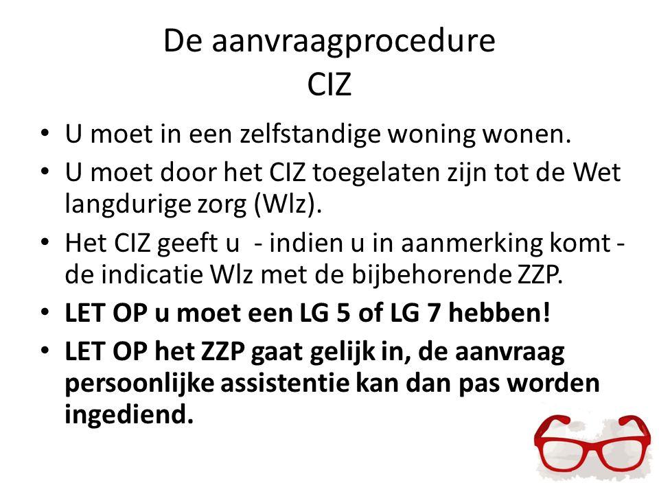 De aanvraagprocedure CIZ U moet in een zelfstandige woning wonen. U moet door het CIZ toegelaten zijn tot de Wet langdurige zorg (Wlz). Het CIZ geeft