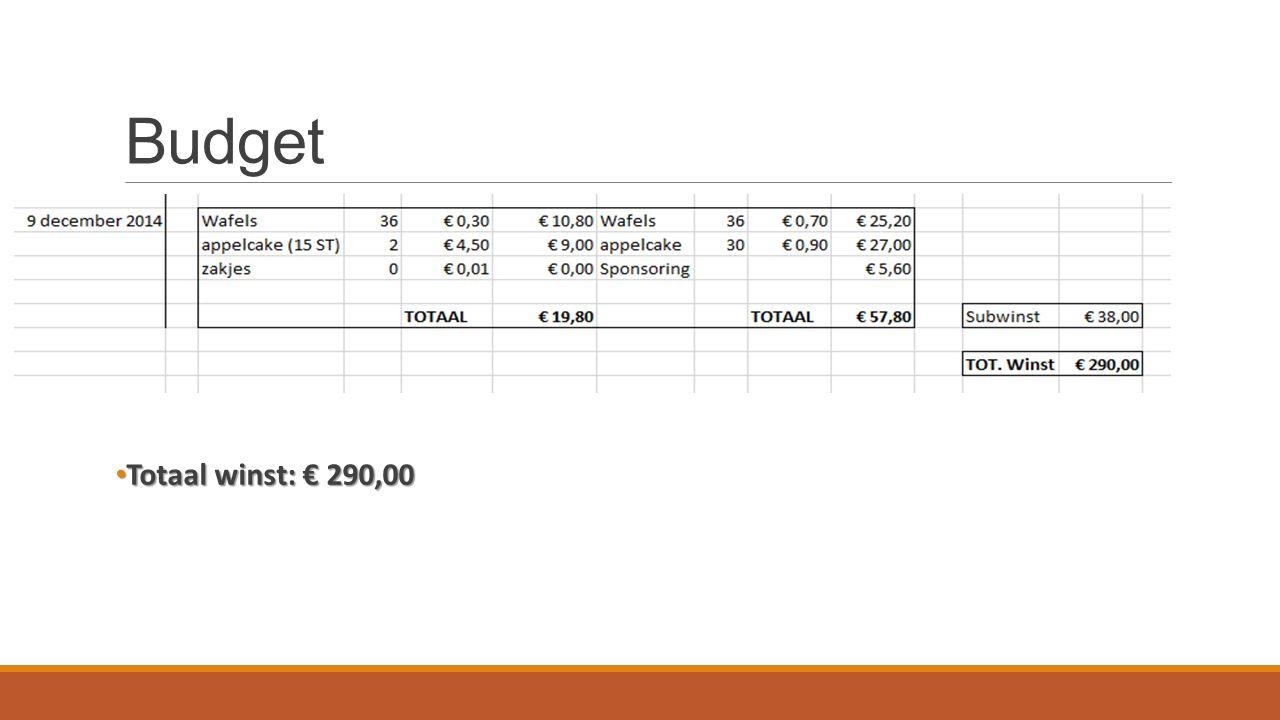 Totaal winst: € 290,00 Totaal winst: € 290,00