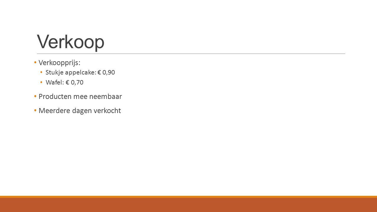 Verkoop Verkoopprijs: Stukje appelcake: € 0,90 Wafel: € 0,70 Producten mee neembaar Meerdere dagen verkocht