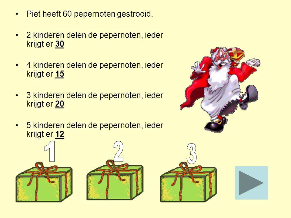 Piet heeft 60 pepernoten gestrooid. 2 kinderen delen de pepernoten, ieder krijgt er ______ 4 kinderen delen de pepernoten, ieder krijgt er ______ 3 ki