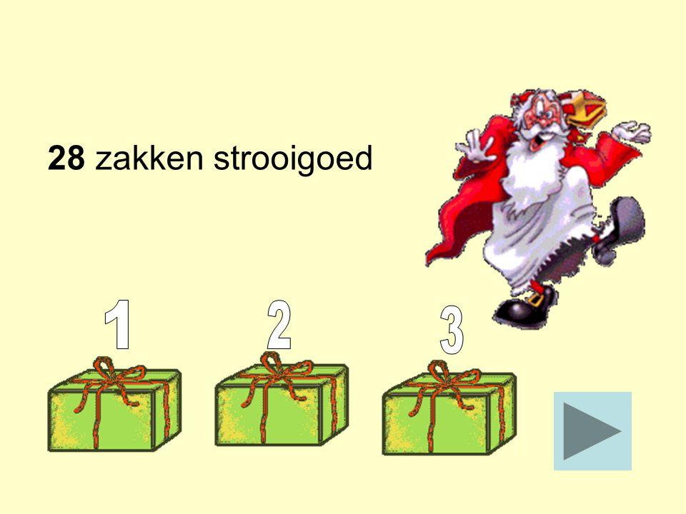 Sinterklaas komt op school. Hij geeft voor elke klas twee zakken strooigoed. Er zijn 14 klassen. Hoeveel zakken strooigoed zijn dat? _____ Stop