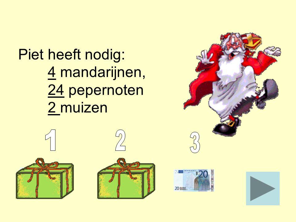 Piet heeft nodig: 4 mandarijnen, 24 pepernoten 2 muizen Pechkaart Je verliest al je geld aan de bank