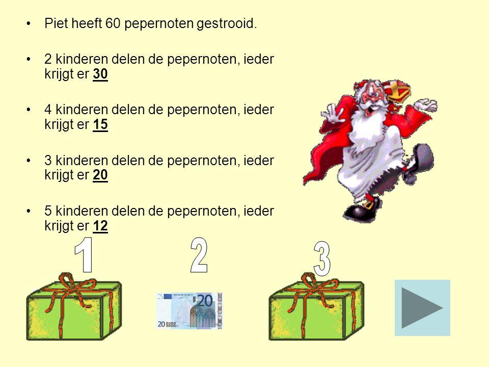 Piet heeft 60 pepernoten gestrooid. 2 kinderen delen de pepernoten, ieder krijgt er 30 4 kinderen delen de pepernoten, ieder krijgt er 15 3 kinderen d