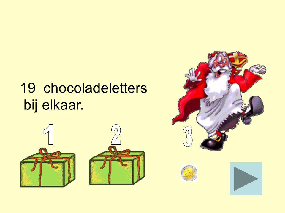 19 chocoladeletters bij elkaar.