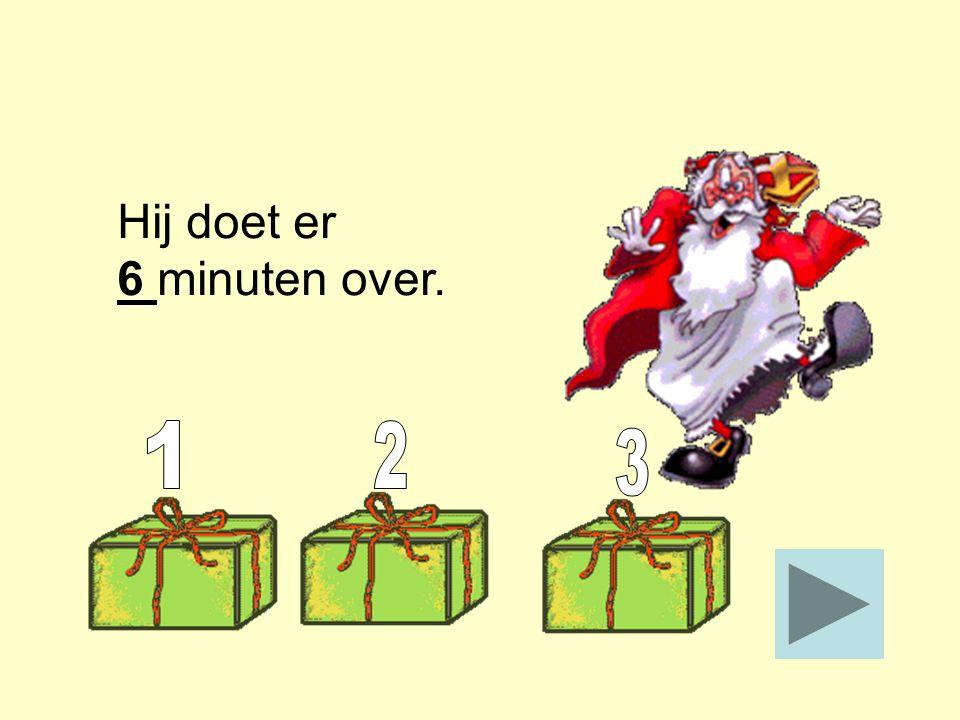 Een snelle Piet klimt in 2 minuten het dak op. Een langzame Piet doet er 3 keer zo lang over. Hij doet er _____ minuten over. Stop