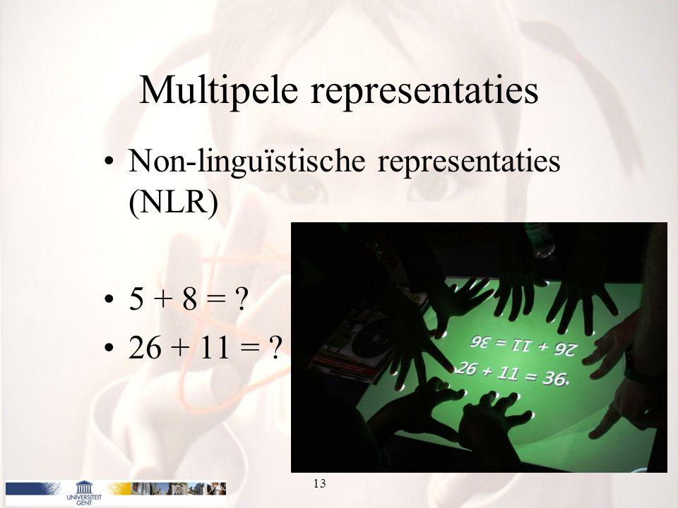 Multipele representaties Non-linguïstische representaties (NLR) 5 + 8 = ? 26 + 11 = ? 13