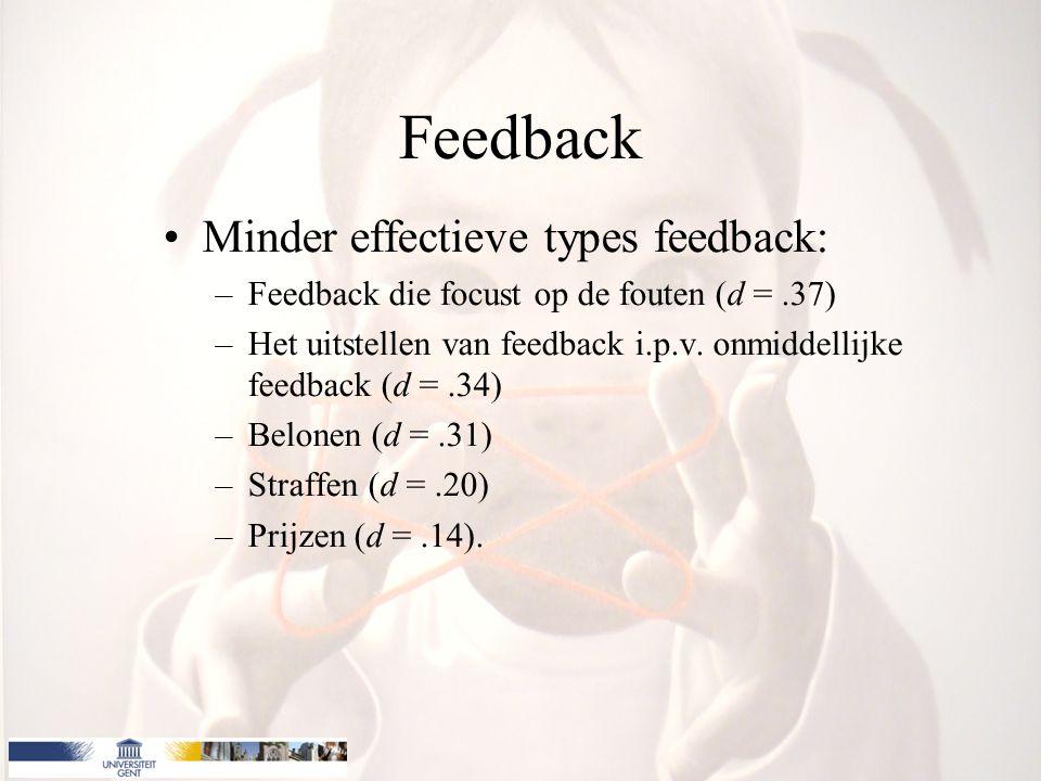 Feedback Minder effectieve types feedback: –Feedback die focust op de fouten (d =.37) –Het uitstellen van feedback i.p.v. onmiddellijke feedback (d =.