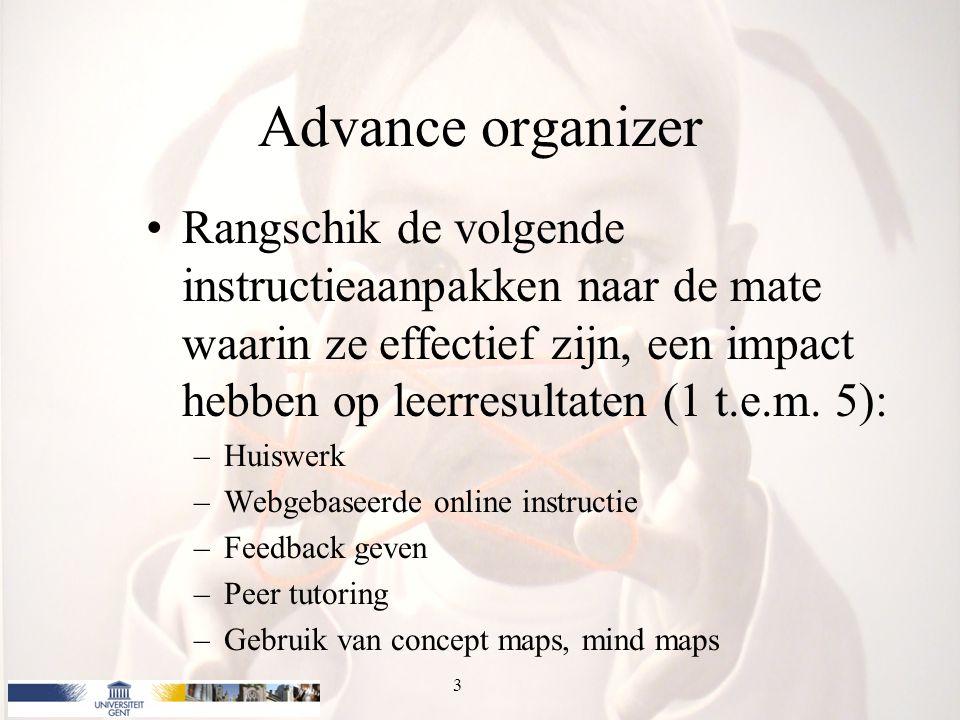 Advance organizer Rangschik de volgende instructieaanpakken naar de mate waarin ze effectief zijn, een impact hebben op leerresultaten (1 t.e.m. 5): –