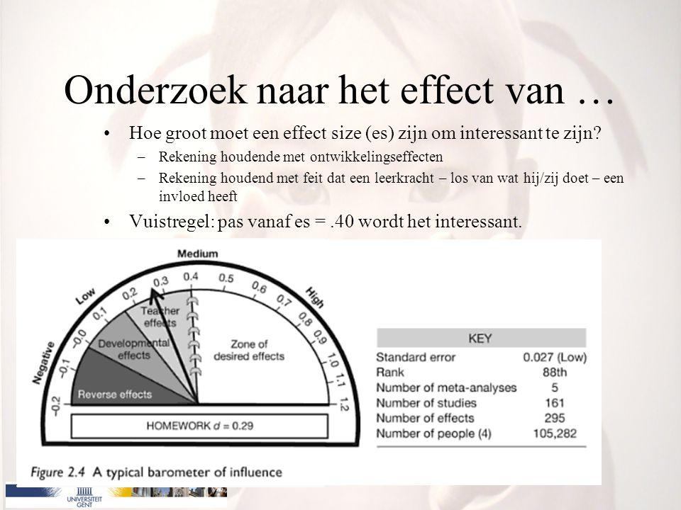 Onderzoek naar het effect van … Hoe groot moet een effect size (es) zijn om interessant te zijn? –Rekening houdende met ontwikkelingseffecten –Rekenin