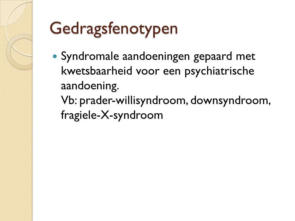 Gedragsfenotypen Syndromale aandoeningen gepaard met kwetsbaarheid voor een psychiatrische aandoening. Vb: prader-willisyndroom, downsyndroom, fragiel
