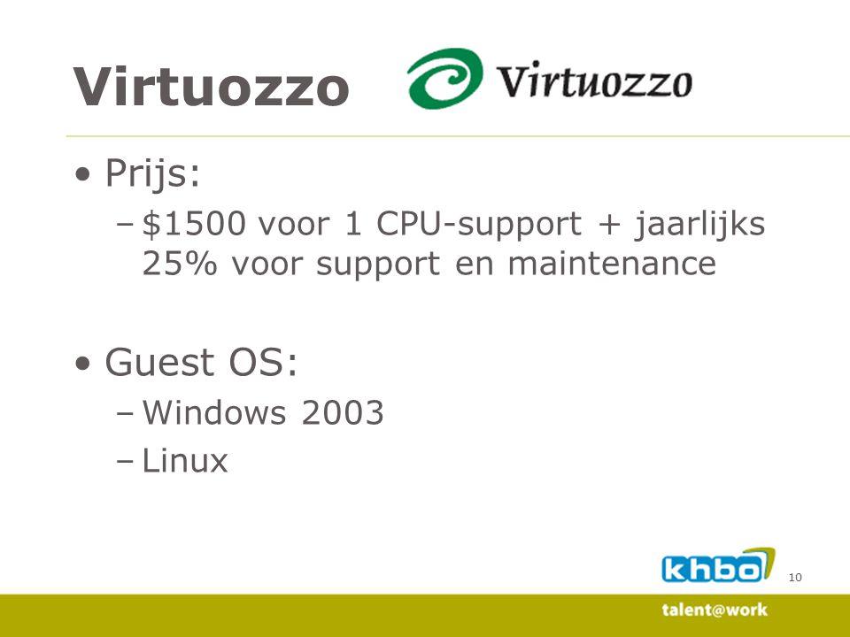 10 Prijs: –$1500 voor 1 CPU-support + jaarlijks 25% voor support en maintenance Guest OS: –Windows 2003 –Linux Virtuozzo