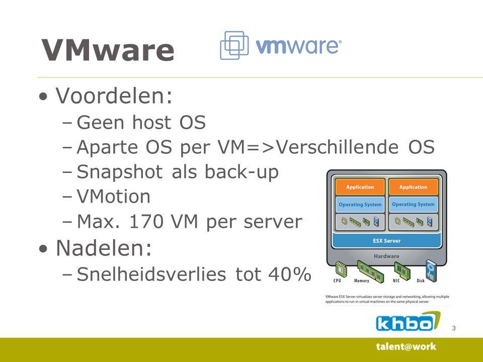 3 Voordelen: –Geen host OS –Aparte OS per VM=>Verschillende OS –Snapshot als back-up –VMotion –Max.