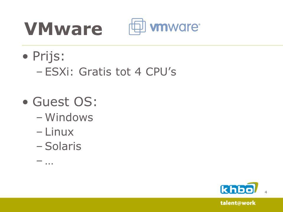 4 Prijs: –ESXi: Gratis tot 4 CPU's Guest OS: –Windows –Linux –Solaris –… VMware