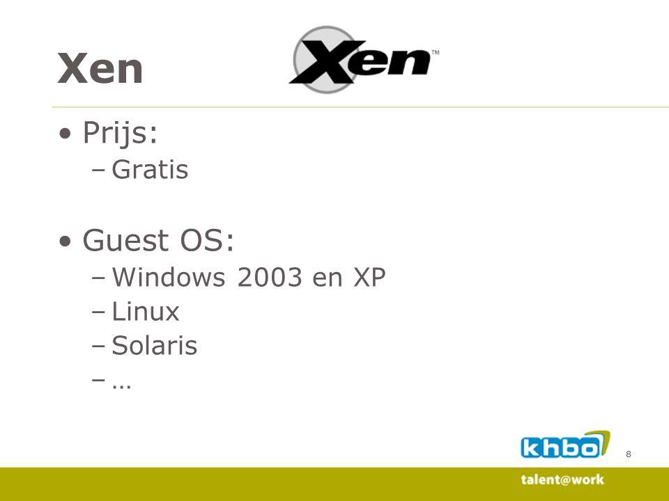 8 Prijs: –Gratis Guest OS: –Windows 2003 en XP –Linux –Solaris –… Xen