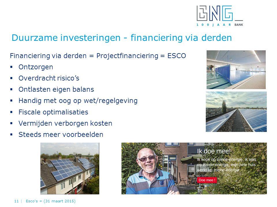 Duurzame investeringen - financiering via derden Financiering via derden = Projectfinanciering = ESCO  Ontzorgen  Overdracht risico's  Ontlasten ei