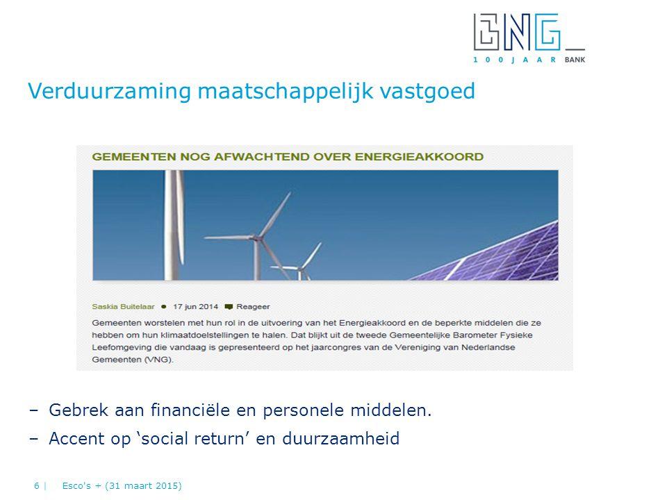 –Gebrek aan financiële en personele middelen. –Accent op 'social return' en duurzaamheid Verduurzaming maatschappelijk vastgoed Esco's + (31 maart 201