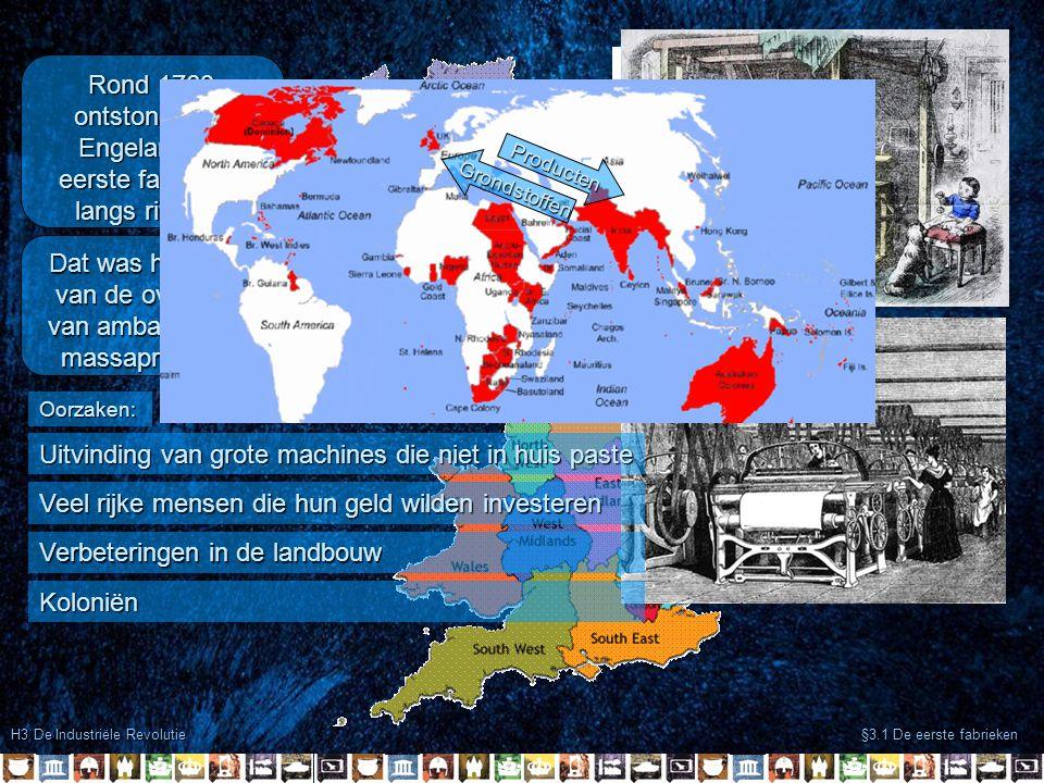 H3 De Industriële Revolutie §3.1 De eerste fabrieken In Engeland zaten veel ijzererts in de grond In Engeland zaten veel steenkolen in de grond Al snel was er te weinig plaats langs de rivier voor alle fabrieken Om niet meer afhankelijk te zijn van waterkracht stapte veel fabrikanten over op stoomkracht
