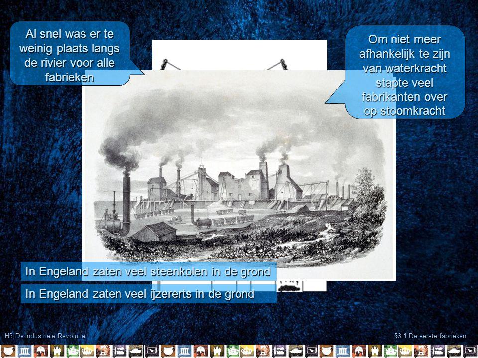 H3 De Industriële Revolutie §3.1 De eerste fabrieken De industrialisatie had grote gevolgen Dorpjes groeide uit tot steden Er ontstond ook een transport- revolutie