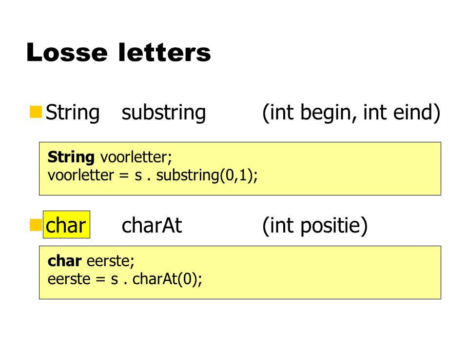 Losse letters nStringsubstring(int begin, int eind) String voorletter; voorletter = s.