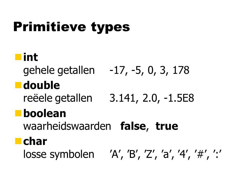 Primitieve types nint gehele getallen-17, -5, 0, 3, 178 ndouble reëele getallen3.141, 2.0, -1.5E8 nboolean waarheidswaarden false, true nchar losse symbolen'A', 'B', 'Z', 'a', '4', '#', ':'