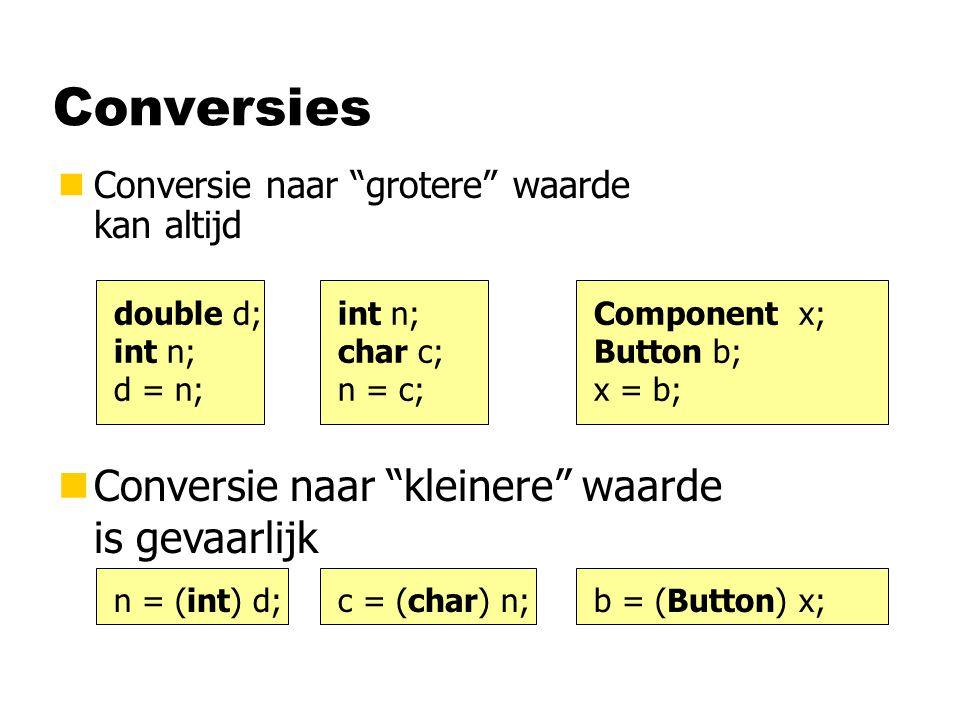 Conversies nConversie naar grotere waarde kan altijd double d; int n; d = n; int n; char c; n = c; Component x; Button b; x = b; nConversie naar kleinere waarde is gevaarlijk n = (int) d;c = (char) n;b = (Button) x;