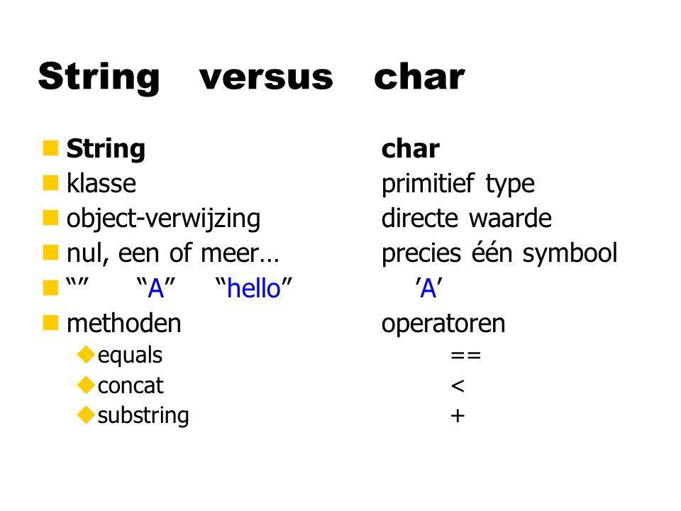 String versus char nStringchar nklasseprimitief type nobject-verwijzingdirecte waarde nnul, een of meer…precies één symbool n A hello 'A' nmethodenoperatoren uequals== uconcat< usubstring+